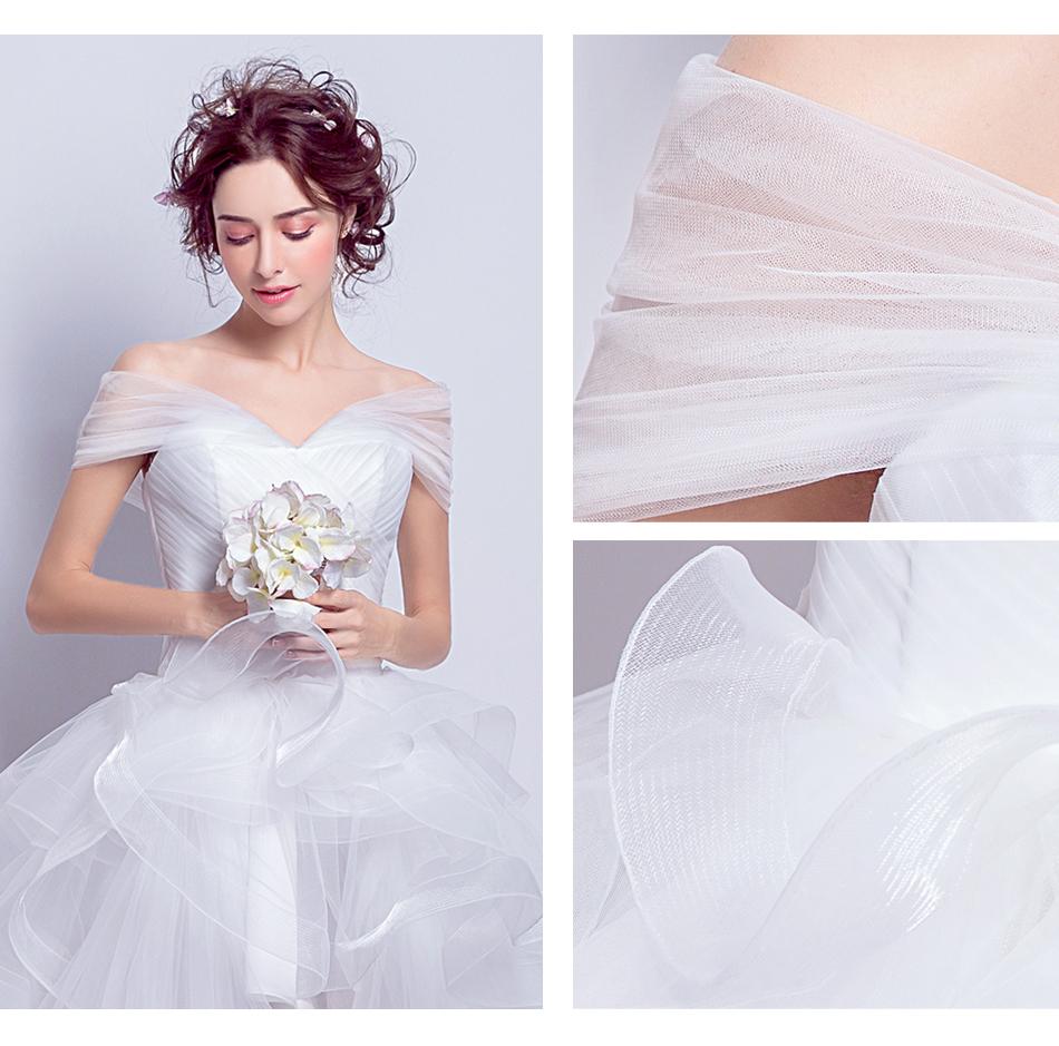 Angel Wedding Dress Marriage Evening Bride Party Prom Bridal Gown Vestido De Noiva 2017 Boat Neck asymmetrical7207 11