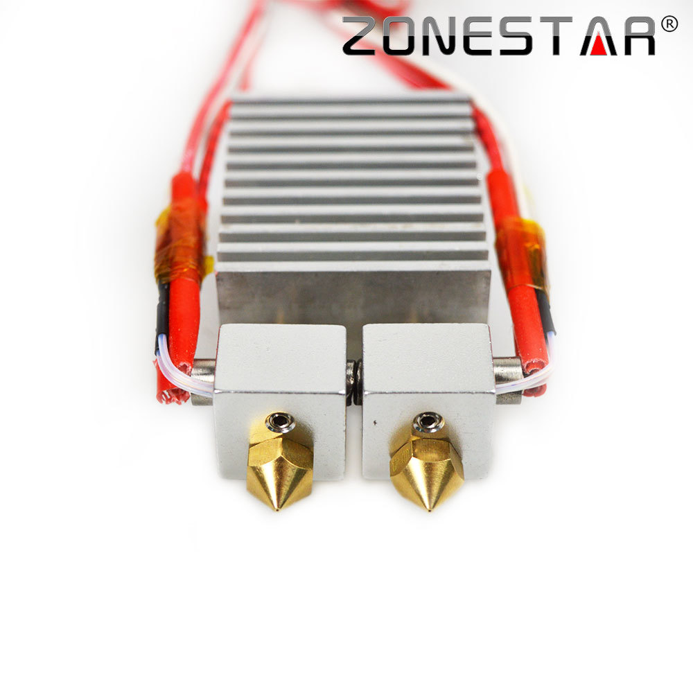 ZONESTAR 3D Printer parts extruder Upgrade Dual Extruder Nozzle 0.4mm Feed Inlet Diameter 1.75 Filament for P802N D80X цена