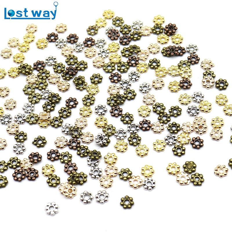 Мм 500 шт./лот 4 мм цинковый сплав полые цветок бусины серебро золото медь бронза цвет распорка бисера для ювелирных изделий DIY Изготовление отверстие 1 мм