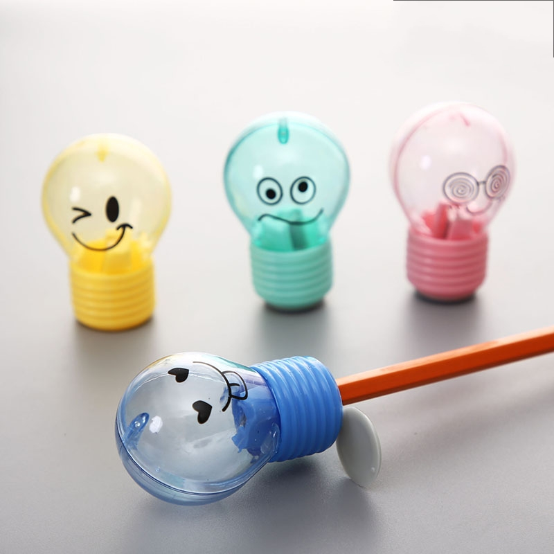 1Pcs Cute Bulb Style Pencil Sharpener Emotions Owl Mouse Plastic Pencil Sharpener For Kids Gifts Stationery School Supplies