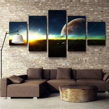 5 Panel Earth Canvas Art Picture Space Art Prints Modern Abstract Painting Cosmos Universe Canvas Pictures For Home Decoraction