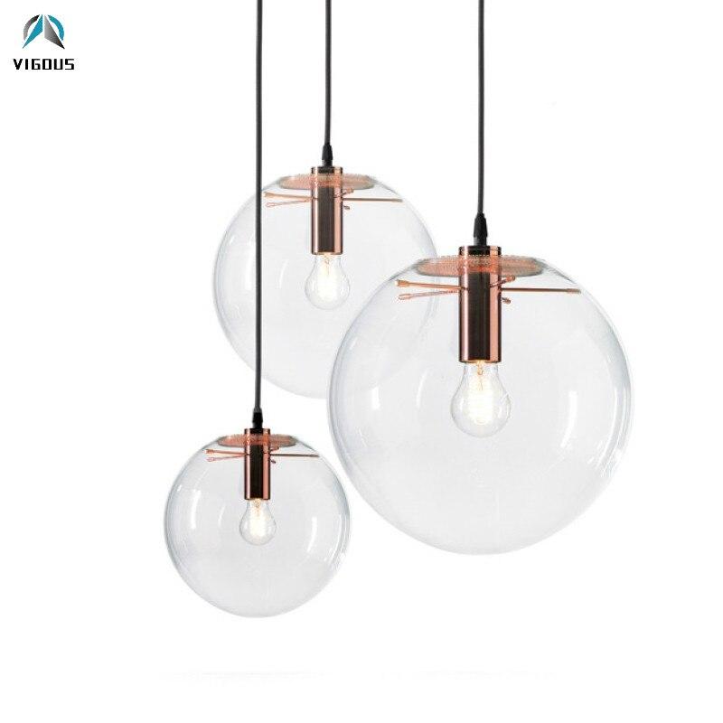 Nordic Simple Clear Glass E27 Luminarias Lustre Led Pendant Lights Rose Gold / Black Metal Droplight Bar Counter Hanging Lamp