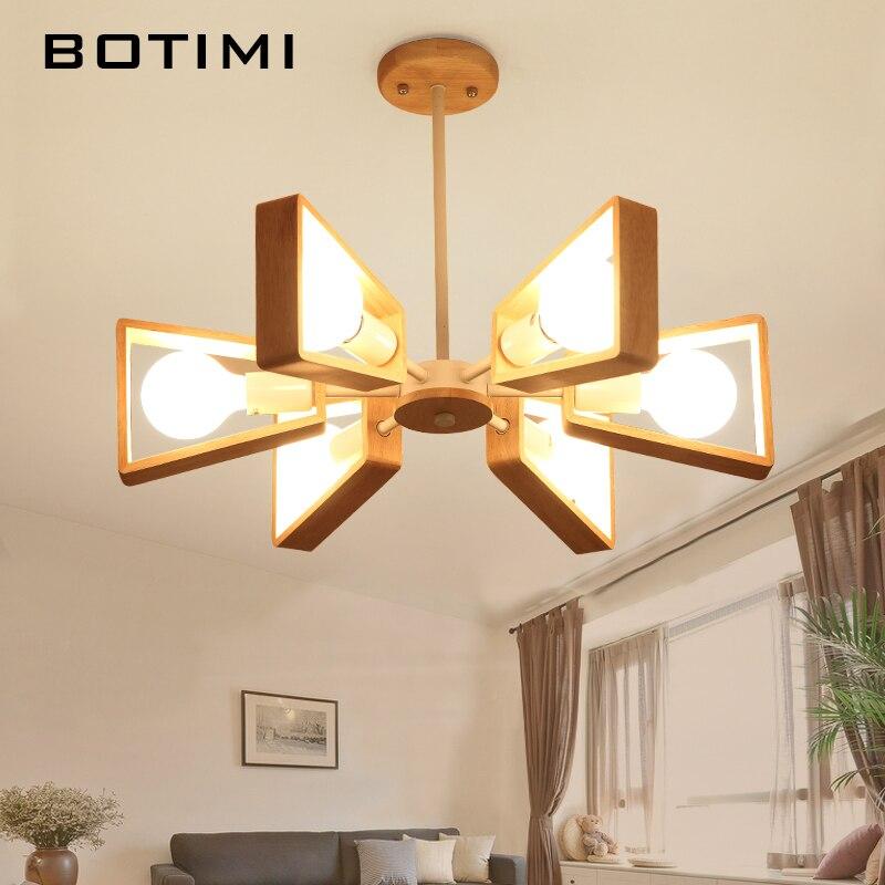 BOTIMI блеск деревянная люстра люстры para Сала-де-янтарь E27 светодио дный Регулируемый подвесные светильники дерево обеденный светильники