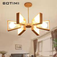 BOTIMI Lustre, candelabro de madera para sala de jantar E27, luces colgantes ajustables LED, lámparas de comedor de madera