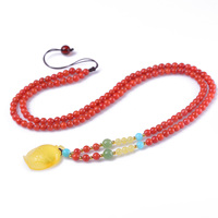 Handmade Authentic Pumpkin Red Crystal Beads Necklace Pendants 4mm