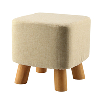 Best Modern Luxury Upholstered Footstool Pouffe Stool Wooden Leg Pattern Square Fabric Grey 4 Legs