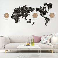 Nordic Style Creative Puzzle Wall Clock Plastic Big World Map Quartz Needle Art Clocks Living Room Original Design Decorations
