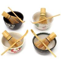 Chá cerimônia matcha cerâmica tigela de chá de bambu colher de chá matcha batedor japonês chá ferramenta 4 estilo matcha tigela conjunto|Jogos de chá| |  -
