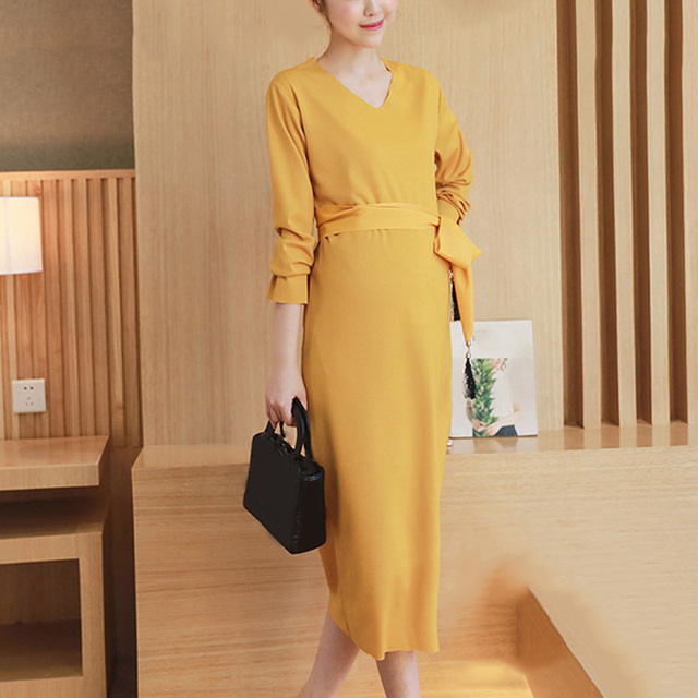 Hot Selling Pregnant Women Dress Elegant Calf Length Maternity Dress Autumn Winter V-Neck Pregnancy Clothes