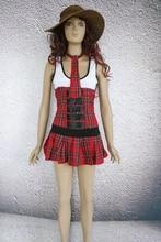 Sexy School Girl Dress 3S1083 Hot Popular Buckle Style Bodice And Pleated Schoolgirl Costume Set Tank Mini Dress Free Shipping