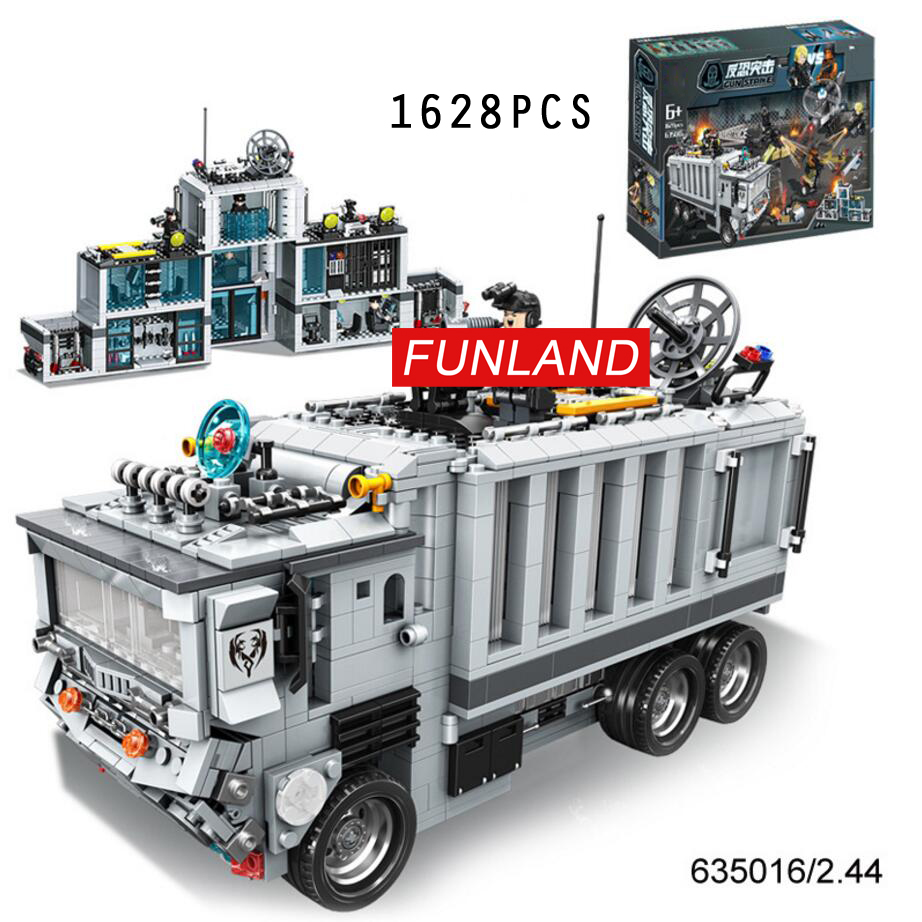 цены Hot city super police station Mobile command car truck 2in1 building block swat policeman figures brick toys collection for gift