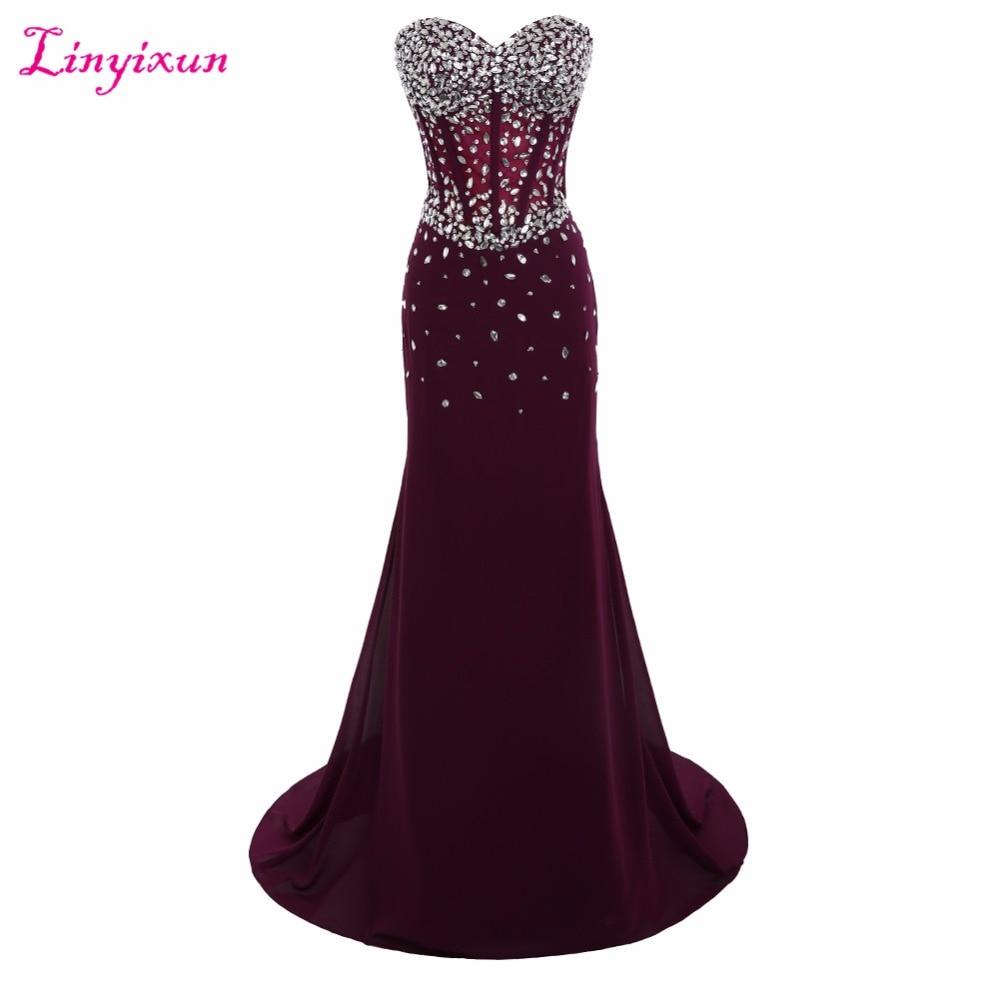 Linyixun Real Photo Sexy Mermaid Long   Prom     Dresses   2017 Sweetheart Beaded Zipper vestidos de fiesta Formal Evening Party Gown
