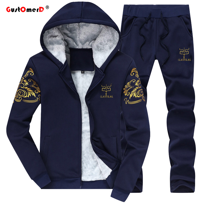 GustOmerD Fashion Brand Tracksuit Men College Wind Winter Plus Velvet Warm Slim Fit Sporting Suit Mens