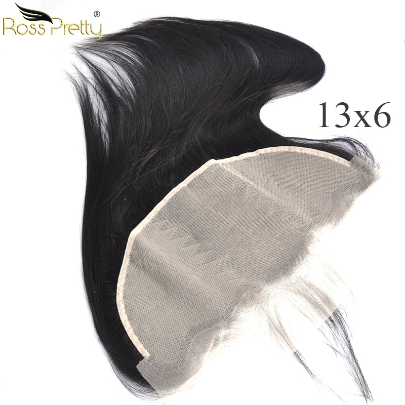 Lace Frontal Transparent Pre Plucked Baby Hair 13x6 Lace Front Human Hair Closure Peruvian Remy Ross Pretty Hair Brand