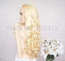 a572 Full Lace Cap 100% Indian Remy Platinum 613 Curly Blonde Wig