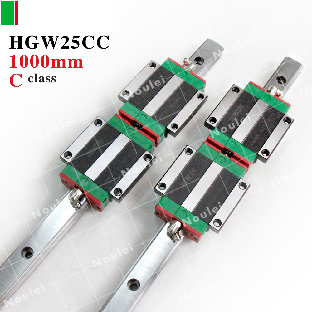 HIWIN HGW25CC guide block with HGR25 1000mm rails 25 of High efficiency CNC parts linear guideway set HGW25 2pcs hiwin hgh25ca linear guide slider block linear rails carrier