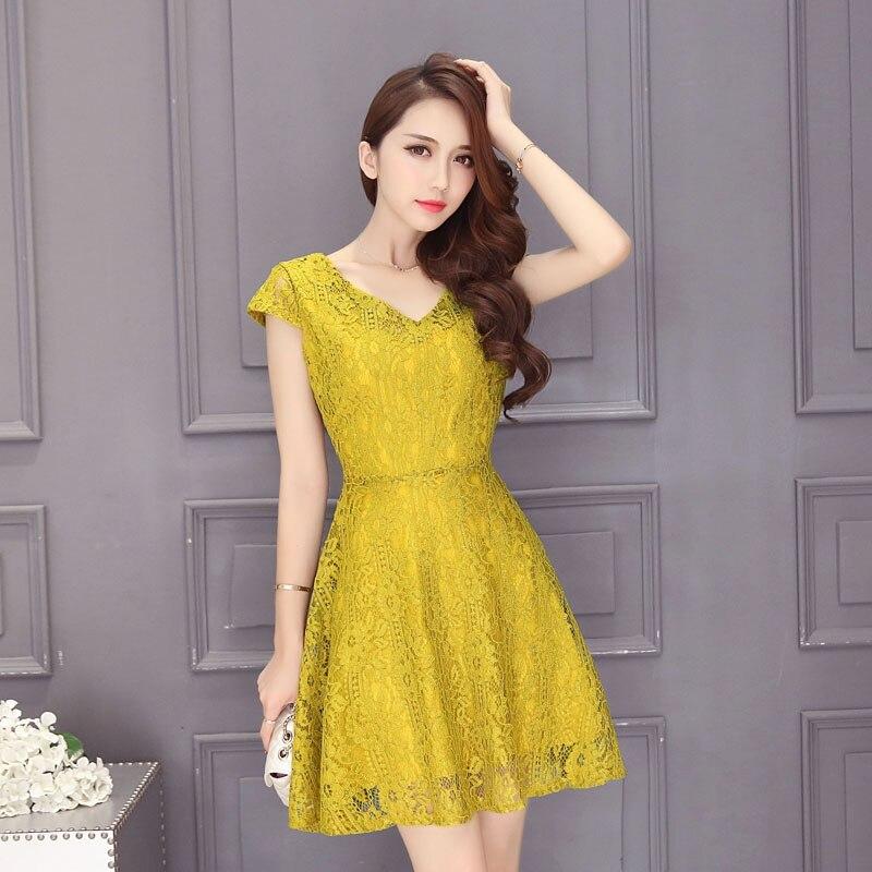769737e985fd14b OVESPORT кружевное сексуальное платье с v-образным вырезом женские  элегантные летние платья с коротким рукавом 2019 женские Вечерние Платья До  Ко..