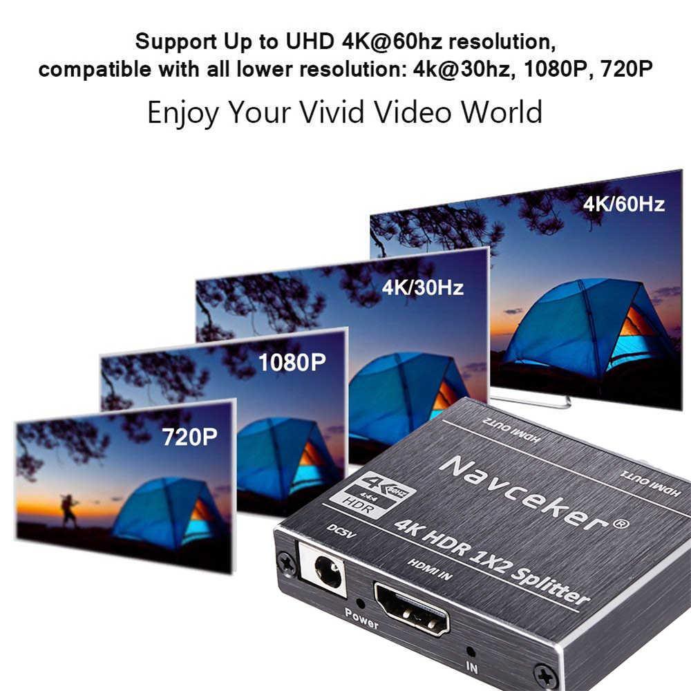 ProAV 4K UHD مقسم الوصلات البينية متعددة الوسائط وعالية الوضوح (HDMI) 2.0 1x2 HDMI 2.0 الخائن HDCP 2.2 HDR الخائن HDMI 2.0 4K HDMI2.0 الخائن لبلو راي DVD PS3 PS4
