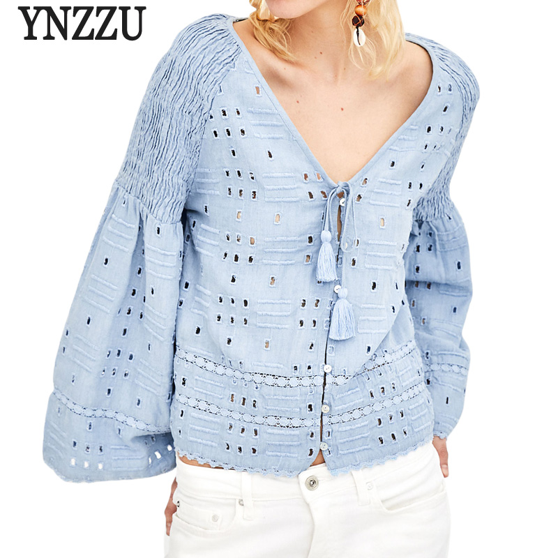 YNZZU Elegant Womens Tops and Blouses New Spring V Neck Hollow Flare Sleeve Lace tassel Loose White Blouse Shirt blusas YT398 ...