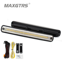 MAXGTRS 1set Waterproof Car High Power 36smd 2835 LED Daytime Running Lights With Amber Turn Signal