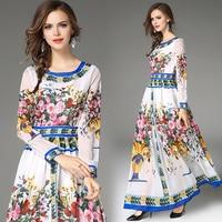 women long dress hot 2018 autumn winter russian style print dress long elegant vestidos Party Dress Women