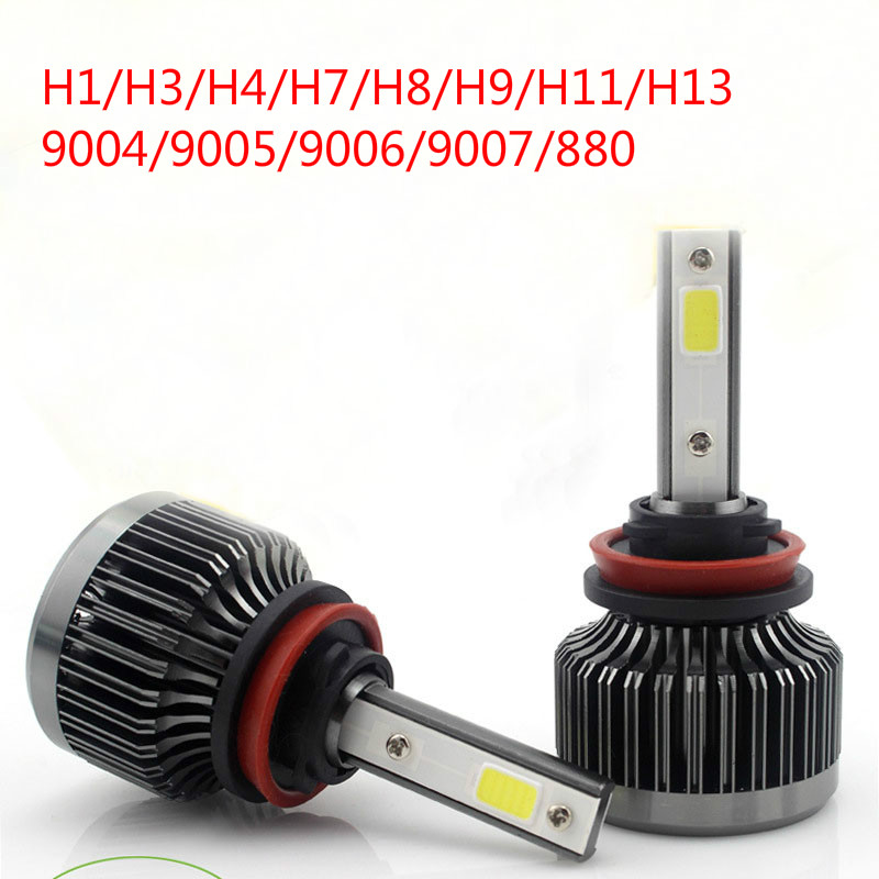1 paire H1/H3/H4/H7/H8/H9/H11/H13/9004/9005/9006/9007/880 Kit de phare LED de voiture 6000 K 12 V 24 V pas besoin de relais de Ballast