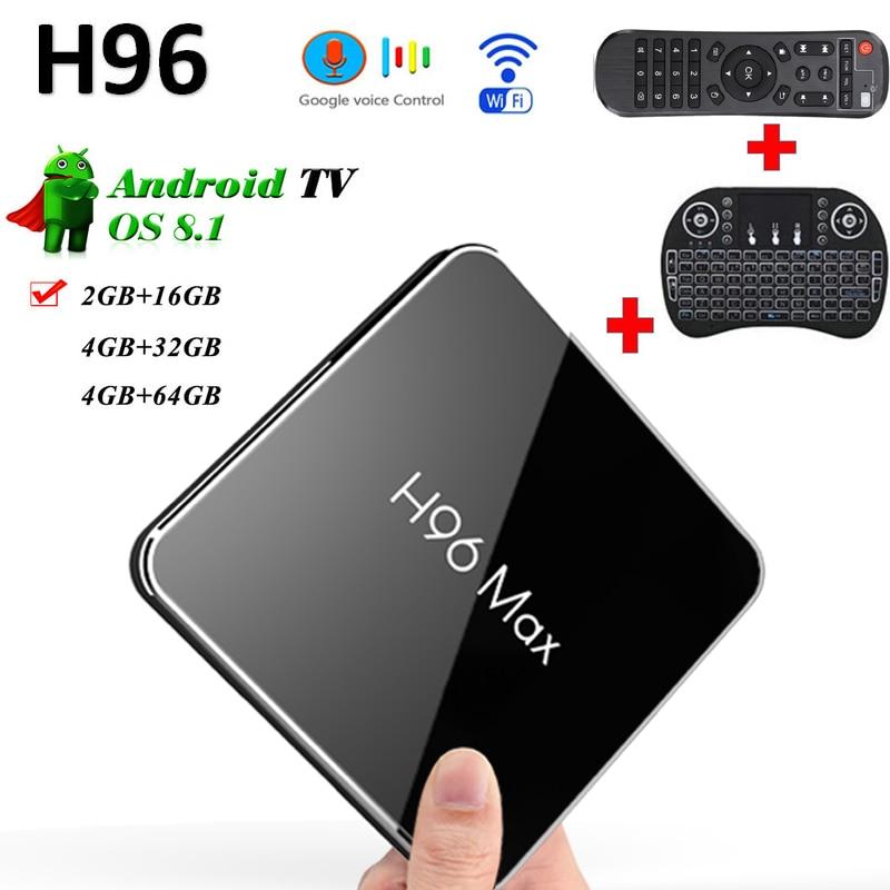 H96 MAX X2 tv box Android 8.1 Amlogic 16 GB/32 GB/64 GB USB3.0 4K 3D boxsupport Google commande vocale avec i8 clavier smart tv box