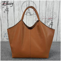 2017 Ellacey Luxury Black Genuine Leather Women Hobo Bag Satchel Real LeatheTote Bag Classic Casual Women