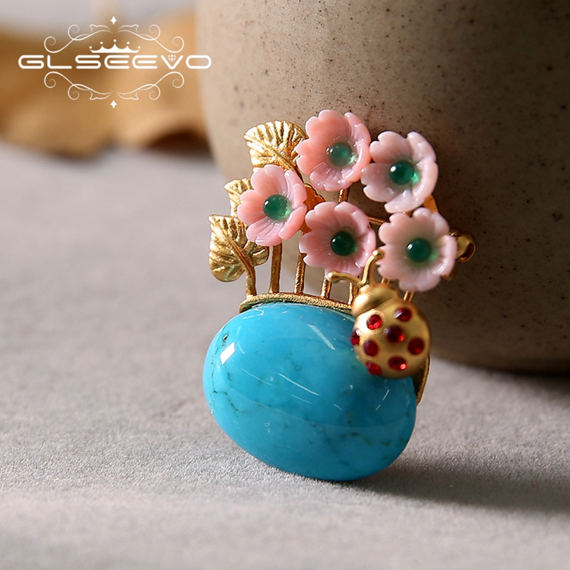 GLSEEVO 925 Sterling Silver Natural Turquoise Brooch Pins Shell Flower Brooches For Women Dual Use Luxury Fine Jewelry GO0195 amxiu customized natural shaped pearls brooch pins dual use women necklace pendant beeswax turquoise jewelry flower accessories