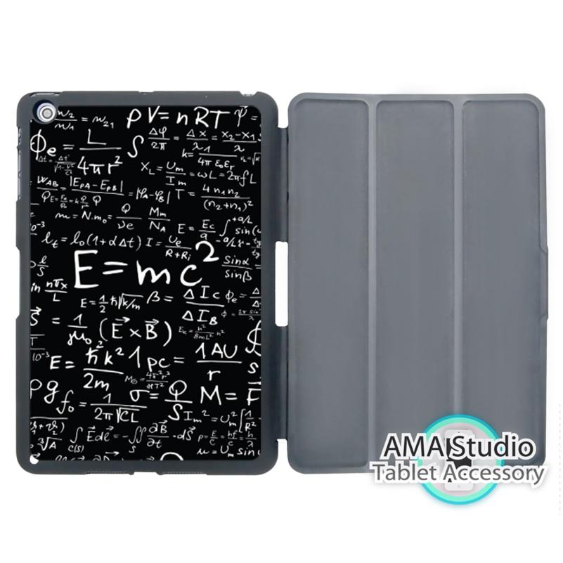 E mc2 with E=mc Formula Math Einstein Cover Case For Apple iPad Mini 1 2 3 4 Air Pro 9.7 Stand Folio Wake Up Sleep Function