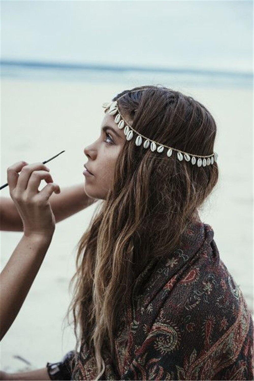 Gypsy Summer Beach color Golden Metal head chain Hairband Indian shell tassels Headband Wedding Women hair jewelry Accessories