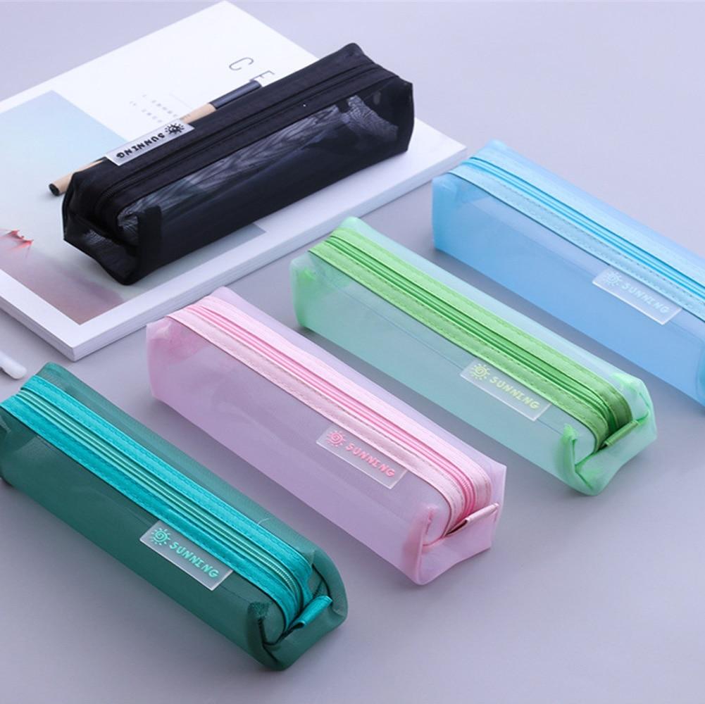 Transparent  Portable Mesh Makeup Bag Unisex Stationery Pouch Travel Cosmetic Storage Bags Zipper Pencil Bag 2018