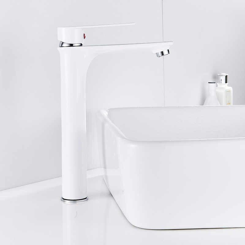 白クローム高洗面器の蛇口タップバスミキサーシングルレバーの浴室台所デッキマウント蛇口温水と冷水