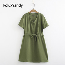 Army Green Casual Dress 2019 Summer Style Vestidos Women Plus Size Short Sleeve Loose V-neck A-line Dress Black KKFY3679 army green side pockets v neck short sleeves camouflage dress