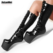 Wholesale 8 inch heel Slugged Bottom Hoof boots with no heel sexy knee high boots Free Shipping
