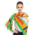 Sarga de Seda Bufanda de Las Mujeres 130*130 cm Euro Gezi Carriage Impreso Bufandas Cuadradas de Impresión A Cuadros de Alta Calidad Regalo de La Manera gran Chal