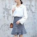 Yichaoyiliang Women Vintage Blue plaid Skirt High Waist Midi Skirt Preppy Style Trumpet / Mermaid Skirt Package Hip Skirt