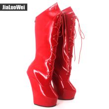 jialuowei New 18cm High Heel Strange Style Sole Heelless Sexy Fetish Cross-tied Back Zipper Ponying Goth Pinup Knee-High Boots