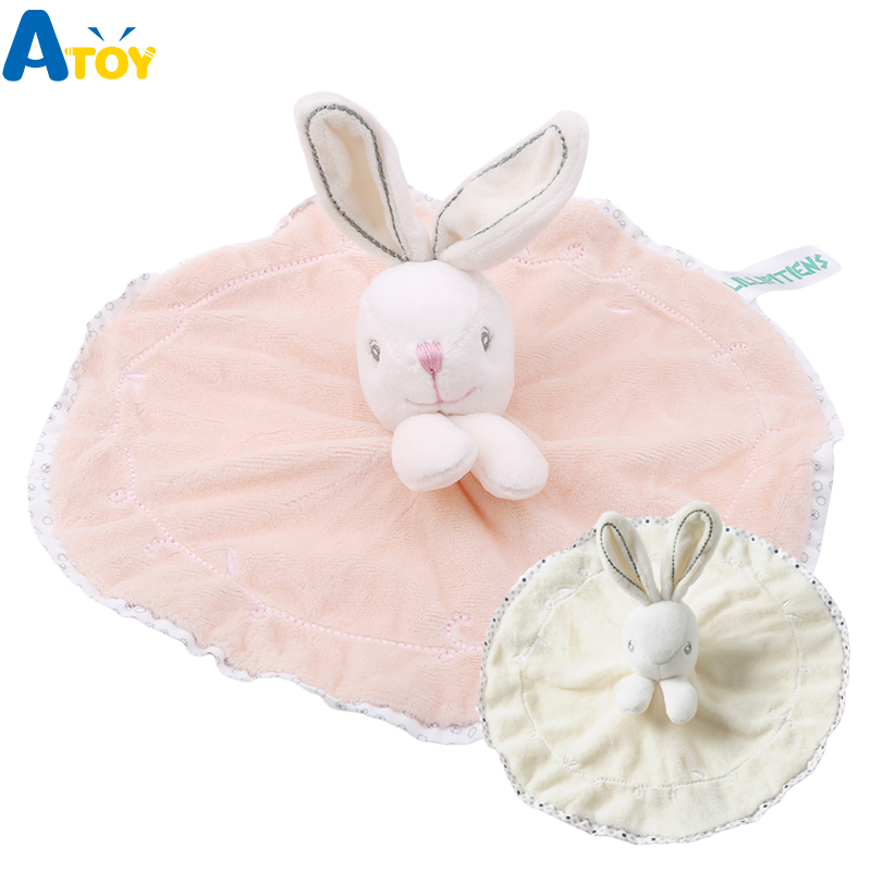 Cute Baby Rattle Bunny Soothing Towel Baby Plush Toys Infant Soft Security Blanket Sleep Friend Plush Rabbit Doll Toys Gift For