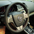 Black Artificial Leather DIY Hand-stitched Steering Wheel Cover for Old Mazda 6 2009 Mazda 6