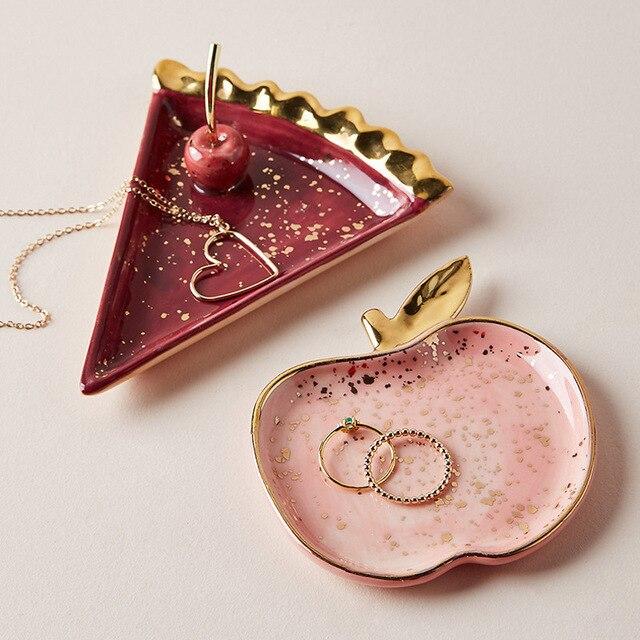 Скандинавские керамические арбузы яблоко маленькие ювелирные изделия Блюдо серьги ожерелье кольцо для хранения тарелки фруктовый десерт ...