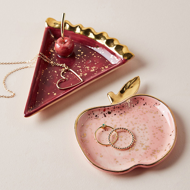 Nordic Ceramic Nordic Storage Tray Luxurious Brass Gold Silver Oval Plate Iron Fruit Plate Jewelry Display Tray