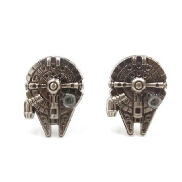 Star Wars Darth Vader Black Enamel Shirt Cufflinks For Mens Brand Superhero Millennium Falcon Boba Cuff Buttons Wholesale