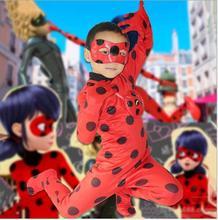 Nuevo 2017 Niños Adultos Milagrosas Mariquita Cosplay Traje Con Máscara Mariquita Mameluco Traje de Gato Traje de Halloween Mujeres Traje de Mariquita(China (Mainland))