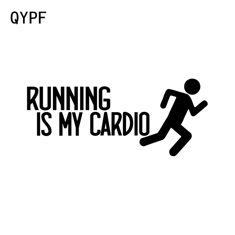 QYPF 16.2*7CM Interesting Running Is My Cardio Graphic Decor Car Sticker Reflective Accessories Vinyl C16-0839