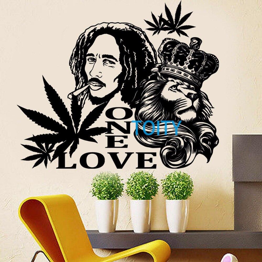 Aliexpress.com: Compre Bob Marley Zion Leão Adesivo De Parede Mural Vinyl  Decal UM Cartaz AMOR Reggae Maconha H57cm X W68cm De Confiança Bob Marley  Wall ... Part 52