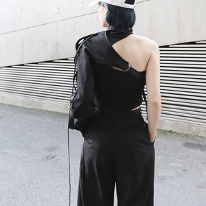 Image 5 - [EAM] Camisa de manga larga de una cara para mujer, camisa con personalidad Irregular, blusa de moda JX407, primavera y verano, 2020