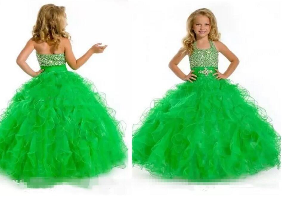 2016 Light Green Custom Made Ruffles Princess Halter Floor Length Ball Gown Flower Girl Dresses Pageant Dresses Girls Formal Oc колонка interstep sbs 150 funny bunny light green