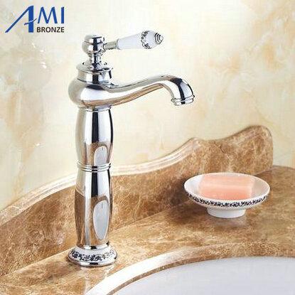 13 Chrome Faucets Bathroom Sink Basin Brass Faucet Porcelain Mixer Tap 9032CP