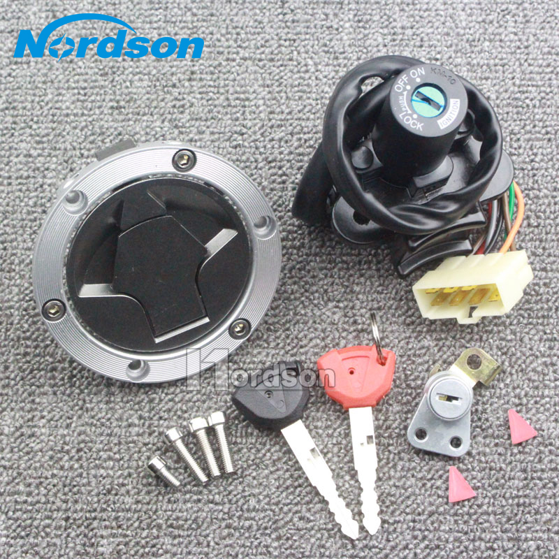 New Aluminum Motorcycle Ignition Fuel Gas Tank Cap Cover Lock Key Set For Kawasaki NINJA250 Z250 Z300 arashi ninja250 motorcycle parts carbon fiber tank cover gas fuel protector case for kawasaki ninja250 2008 2009 2010 2011 2012